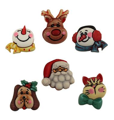 santa friends 3D buttons