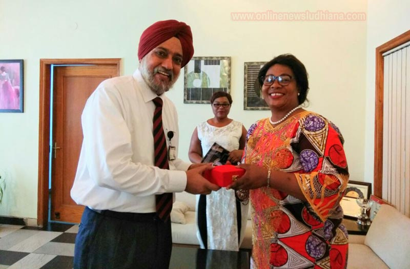 Dr. K.N.S. Kang, Director General, PCTE Group of Institutes welcoming Zambian High Commissioner in PCTE