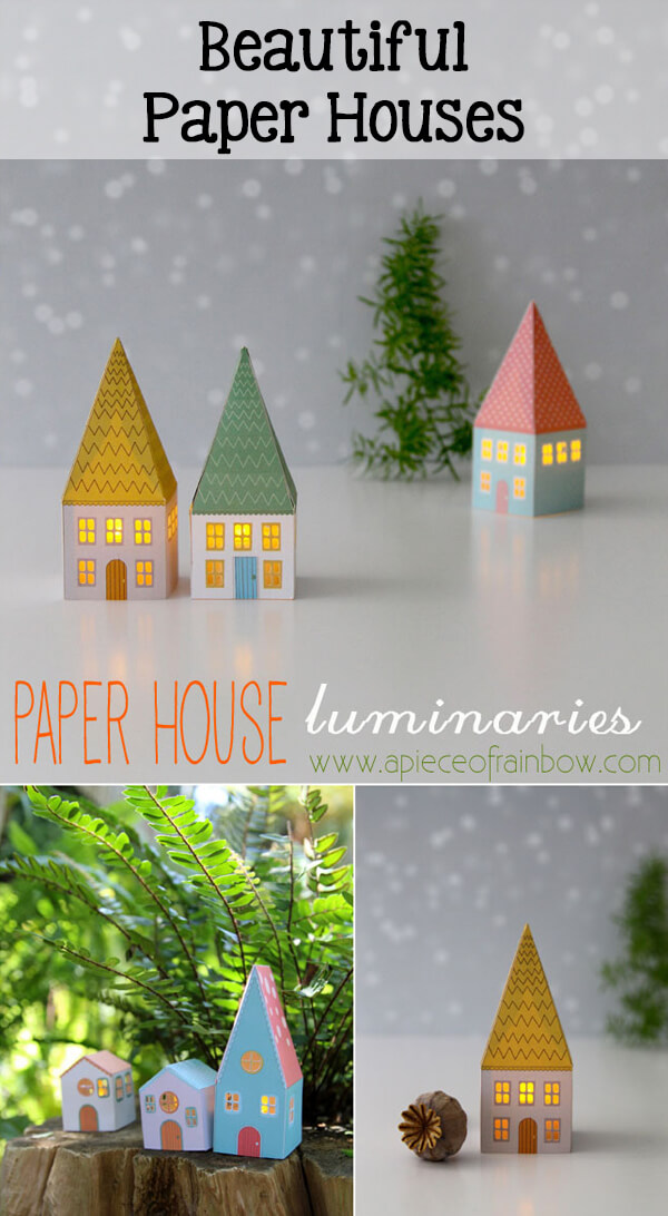 "Beautiful DIY paper house luminaries. Perfect for Christmas! And they're free. ""30 Days of Pretty Christmas Printables"" Hosted by GradeONEderfulDesigns.com"