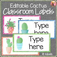Cactus Themed Classroom Labels - Editable