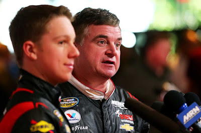 Joe Nemechek (right) and son John Hunter Nemechek.