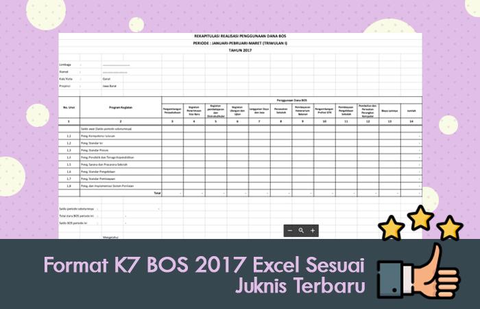 Format K7 BOS 2017 Excel Sesuai Juknis Terbaru