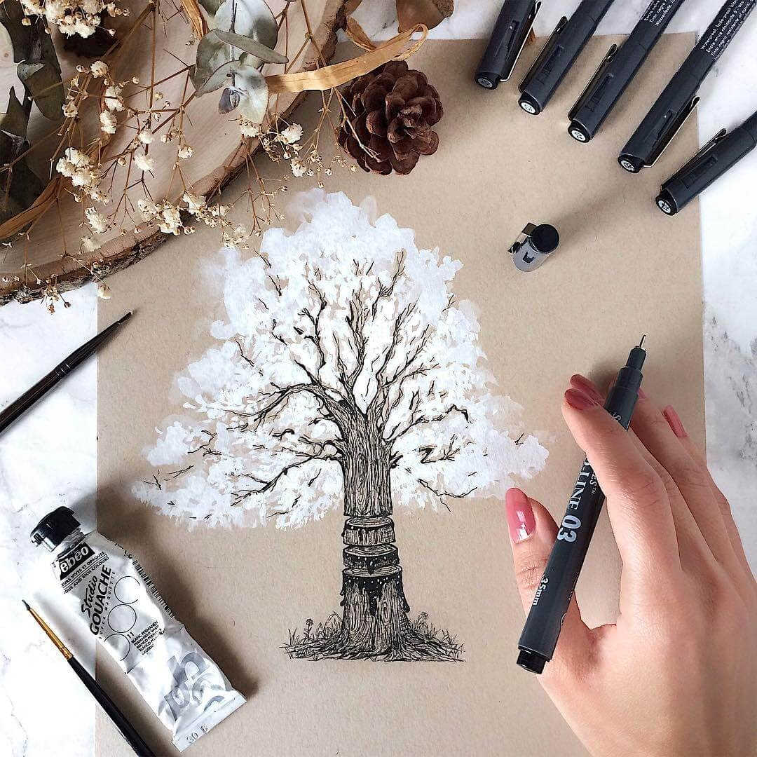 08-Tree-Rings-chop-Rosa-F-Detailing-and-Symbolism-in-Ink-Drawings-www-designstack-co