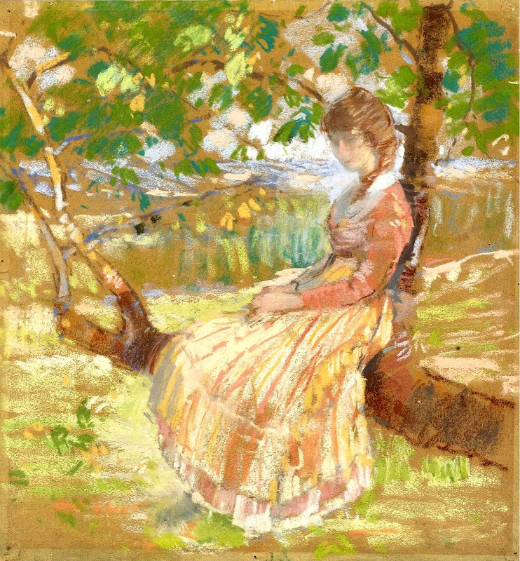 Karl Albert Buehr - Girl Seated on a Tree 1908