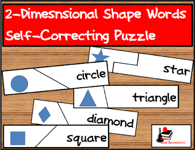 Free shape words self correcting puzzle from Raki's Rad Resources.