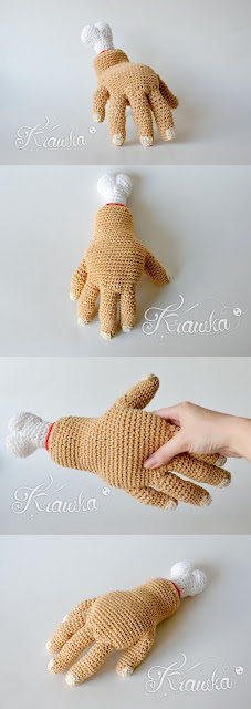 Krawka: Halloween crochet pattern - Thing the Hand from Addams Family, pattern by Krawka: https://www.etsy.com/listing/647863097/crochet-pattern-no-1812-the-hand?ref=shop_home_feat_1#