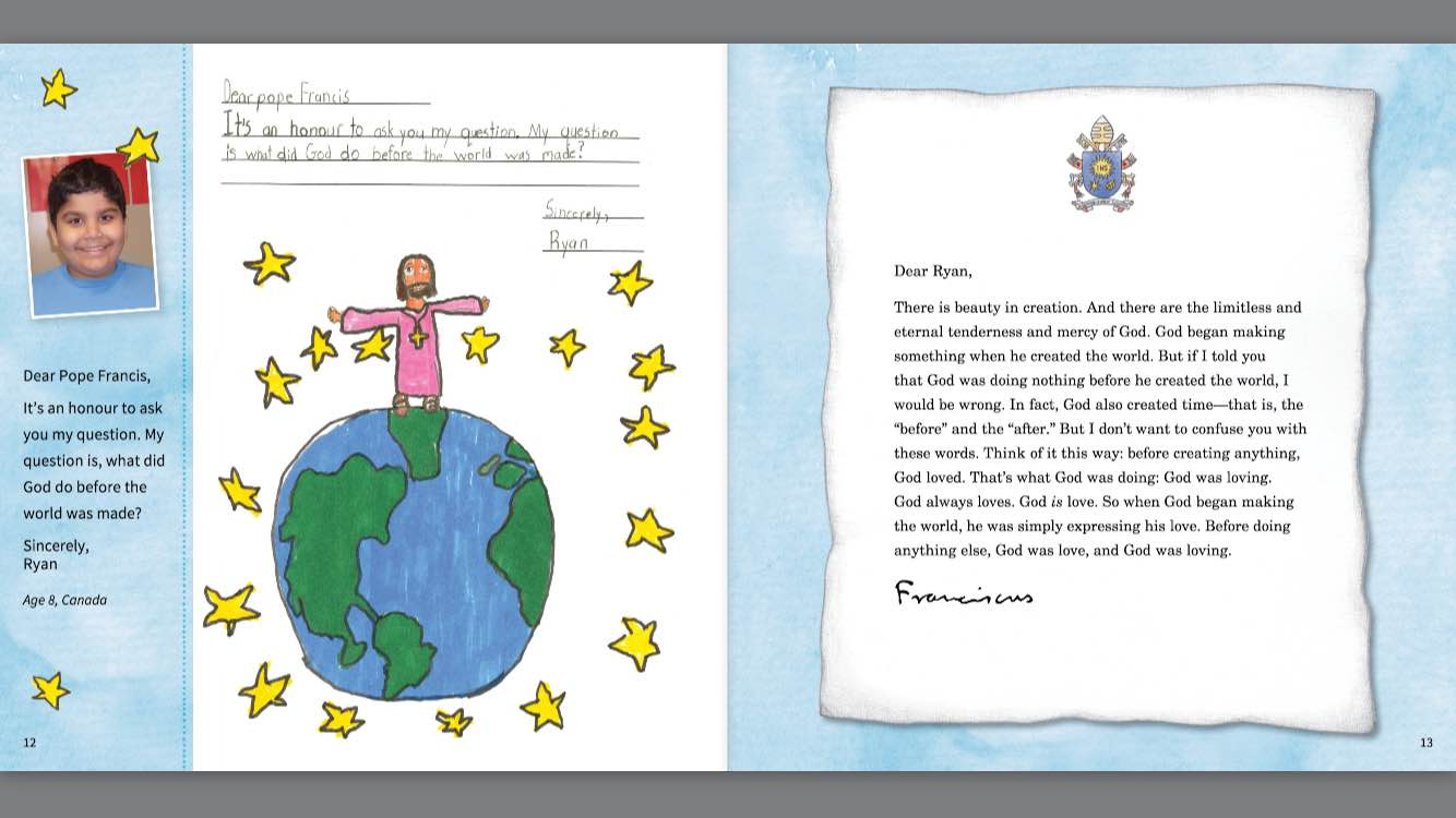 ryan age 8 canada asks pope francis a question in his letter