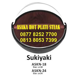 Hot Plate Sukiyaki Nabe ASKN - 18 , ASKN - 18 ( Sukiyaki Nabe) dengan tutup kayu, hot plate bulat pegangan stailess,jual hotplate bulat , sukiyaki nabe,ASKN-18,