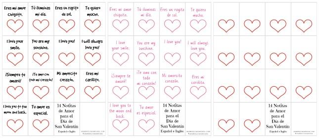 Día de San Valentín: Notitas de amor bilingües para nuestros hijos
