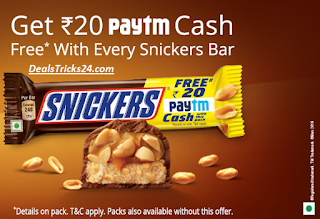 Get Rs.20 Paytm Cash free with Every Snickers Bar
