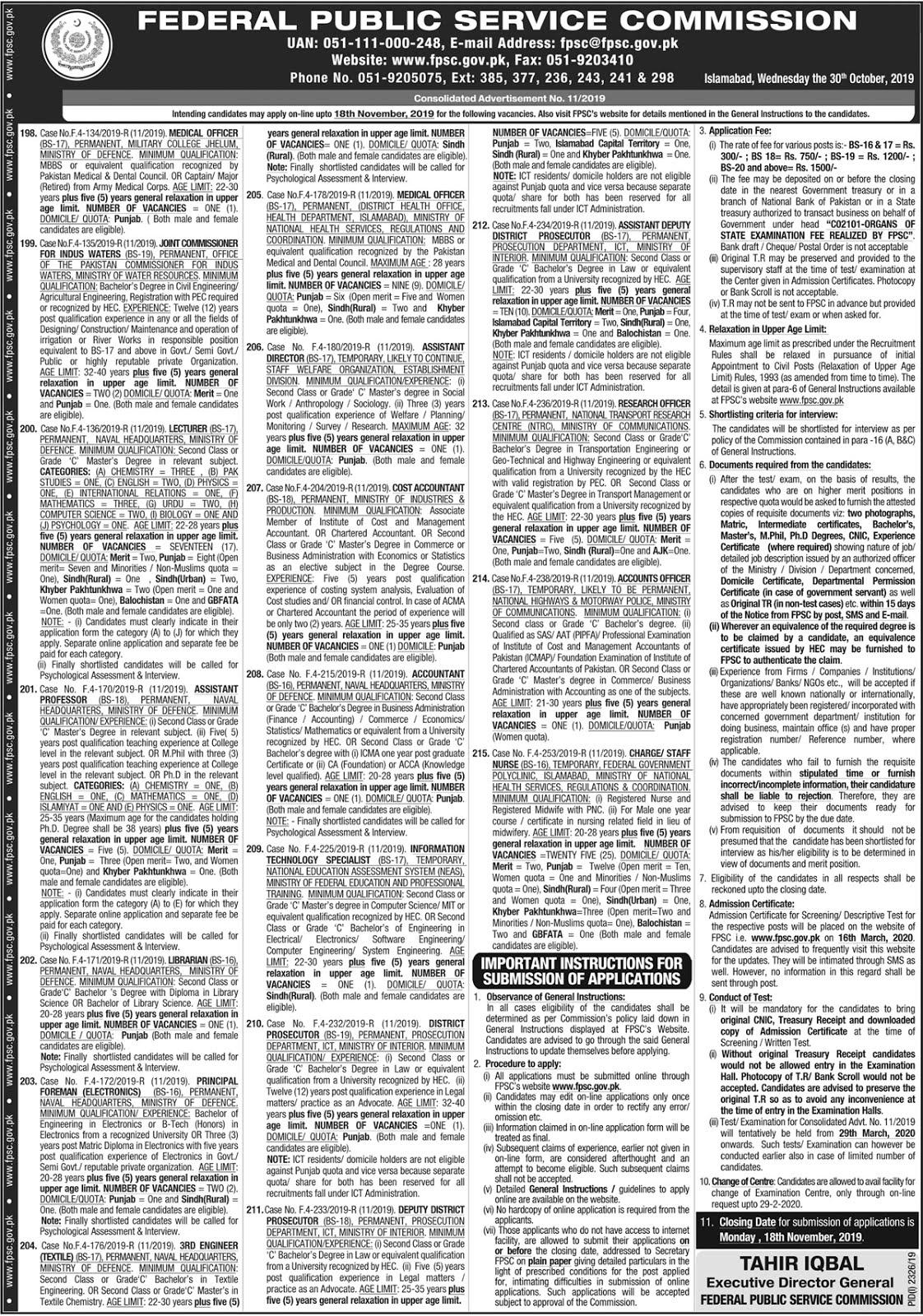 FPSC Jobs November 2019 (90 Posts)