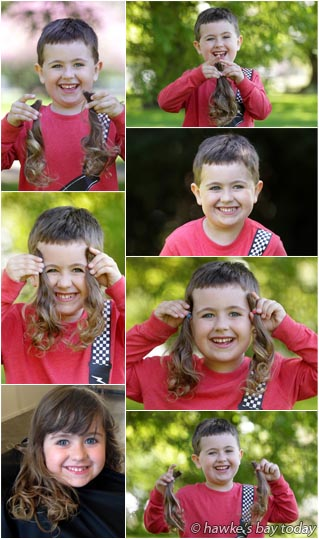 Before and after photos of Luke Donnelly, 4, Hastings, who decided to get his cut for the first time. His mother Jo Donnelly donated the hair to Freedom Wigs Ltd, Dunedin. (Before photo supplied) photograph
