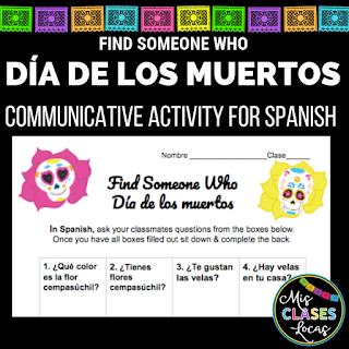 Lista lunes: Día de los muertos in Spanish class - Find Someone Who
