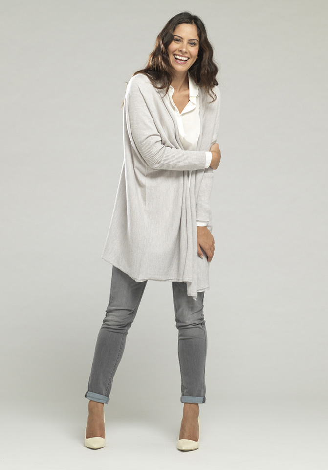 Rachel Wears Long Merino Wool Drape Cardigan