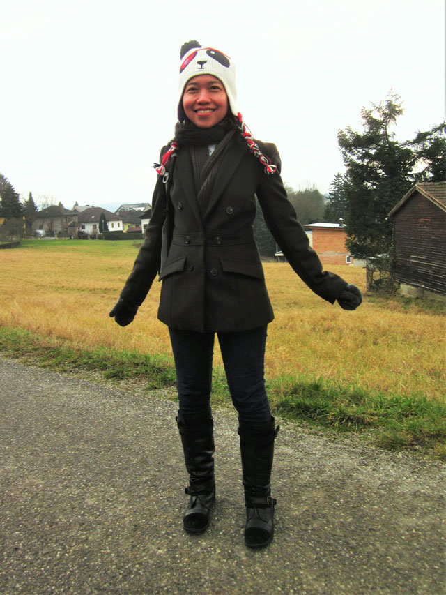 winter ootd: panda beanies, bleazer coat and leather boots
