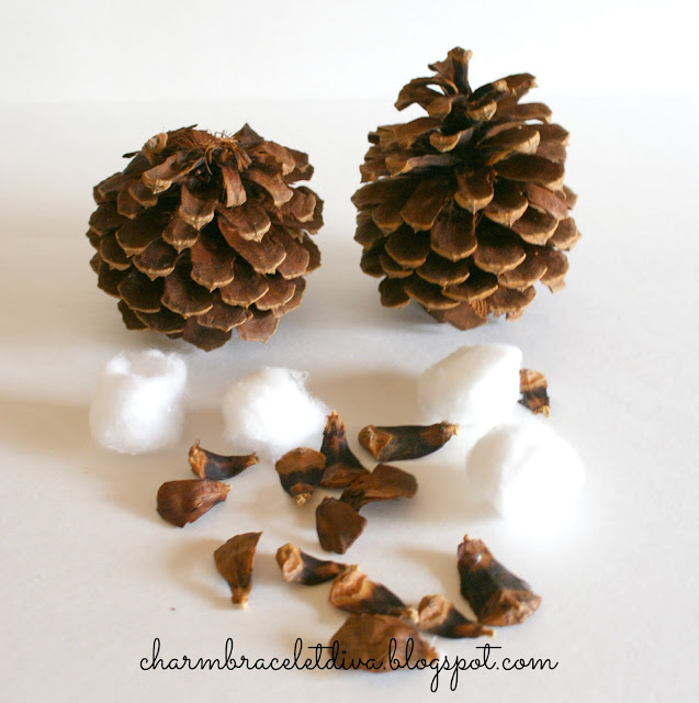 pine cone scales and cotton balls for DIY faux cotton stems