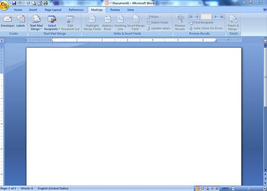 MS word mailings tab
