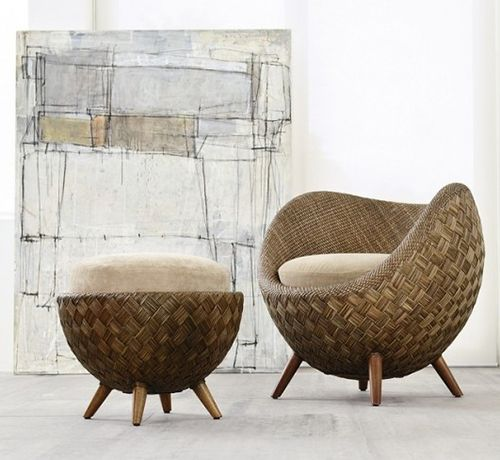 Rattan tub chair and ottoman with a slow living vibe - found on Hello Lovely Studio