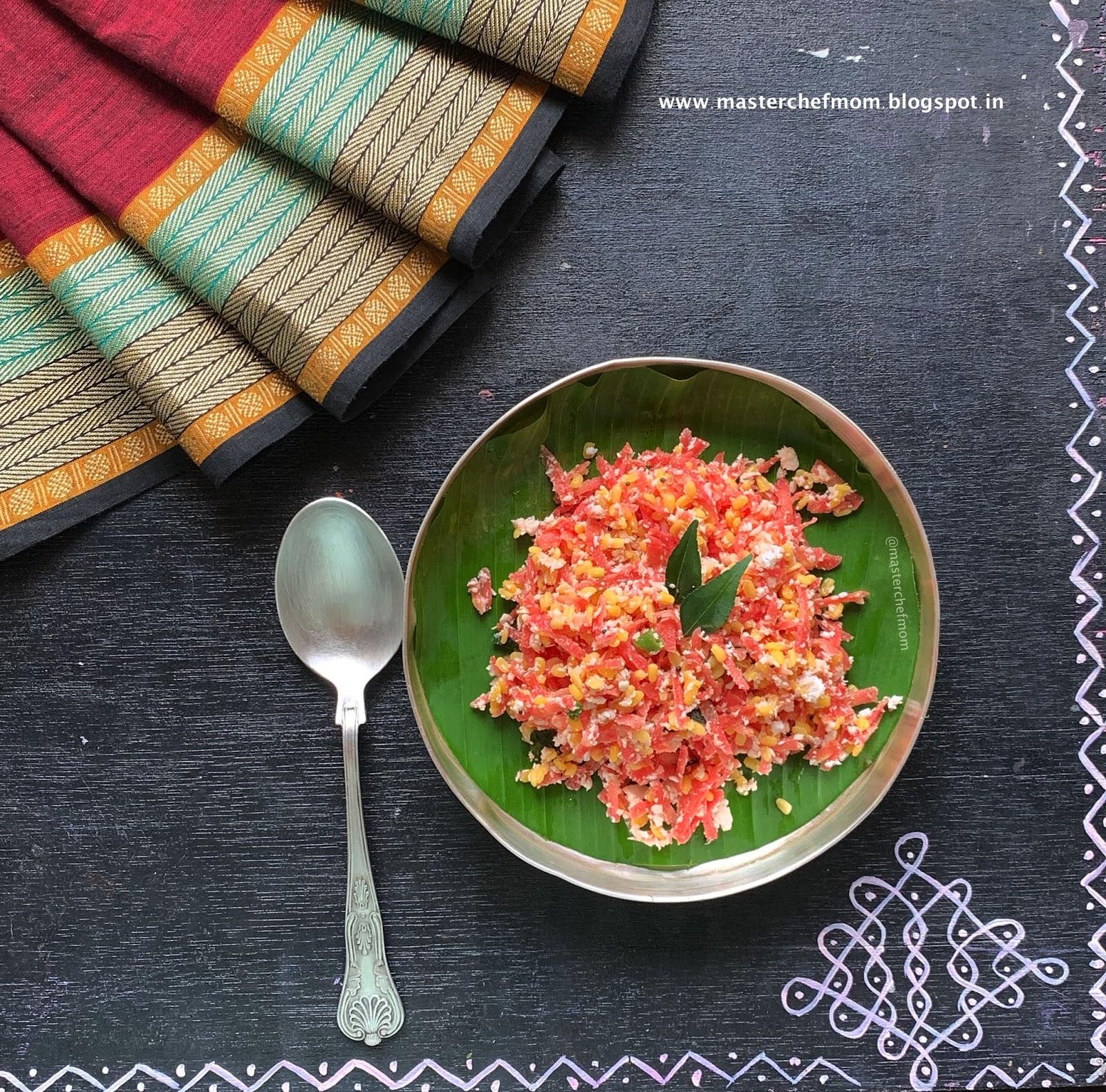 MASTERCHEFMOM: Carrot Kosumalli Recipe   Carrot Moong Dal ...