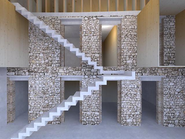 Ricostruzione di setto murario perimetrale con muratura in pietra e mattoni