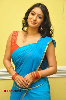 Telugu Actress Vaibhavi Stills in Blue Saree at Www.Meena Bazaar Movie Opening  0029.JPG