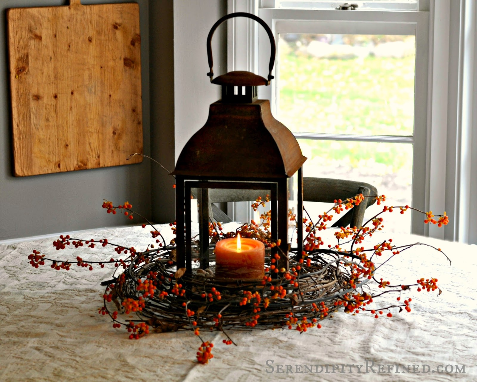 Serendipity Refined Blog: Rusty Lantern And Bittersweet Simple Fall Table Centerpiece