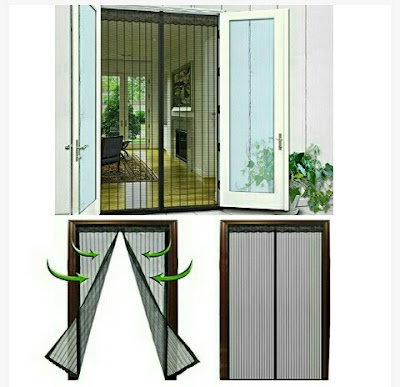 N-Green Door Screen Curtain Mesh with Magnetic Seals