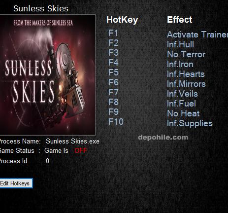 Sunless Skies (PC) Sınırsız Yakıt,Demir +9 Trainer Hile 2019