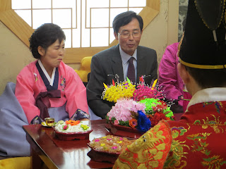 Traditional Korean wedding ceremony at wedding hall - korean parents
