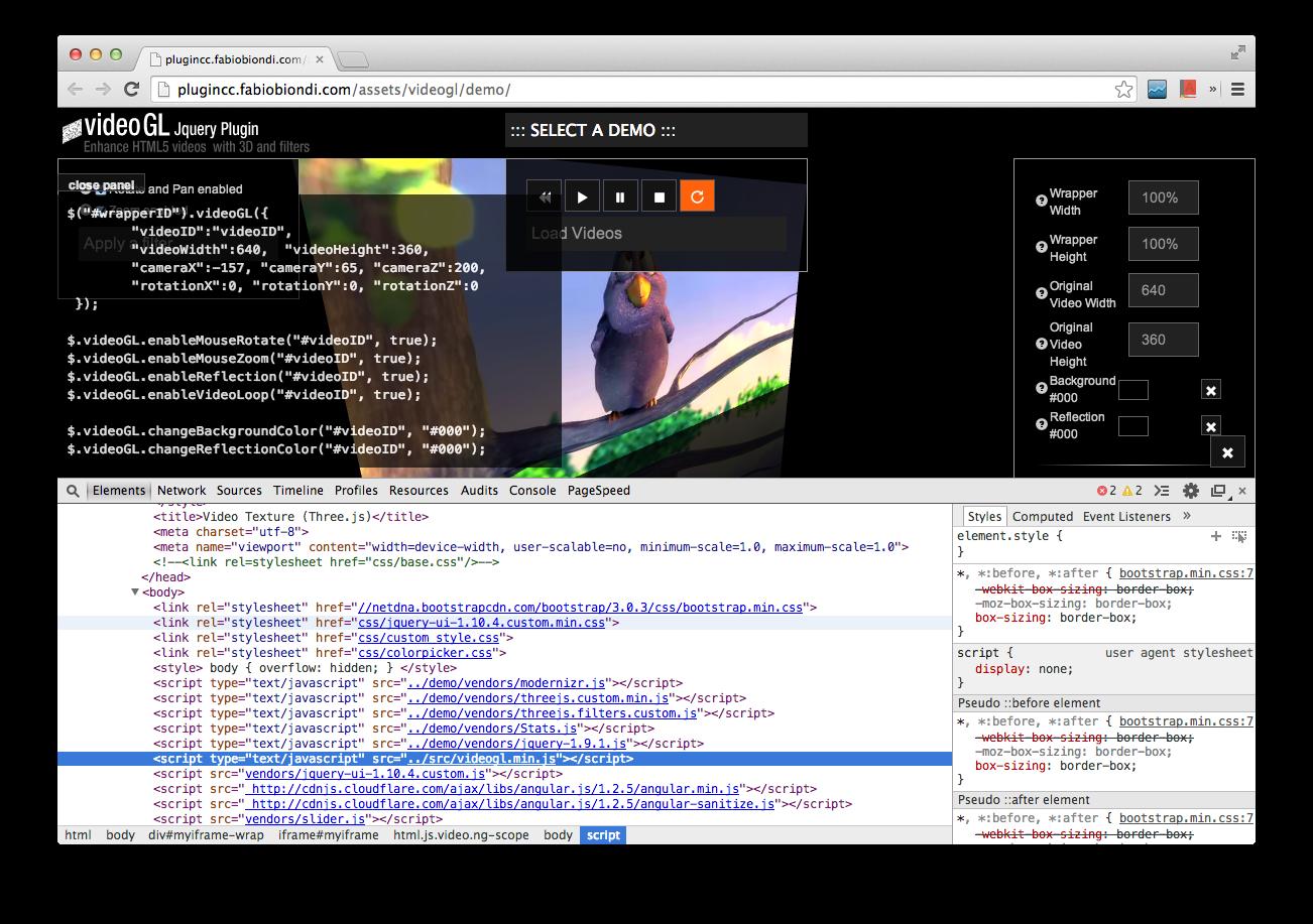 VideoGL:3D HTML5 影片播放器 jQuery Plugin(支援特效濾鏡) - G. T. Wang