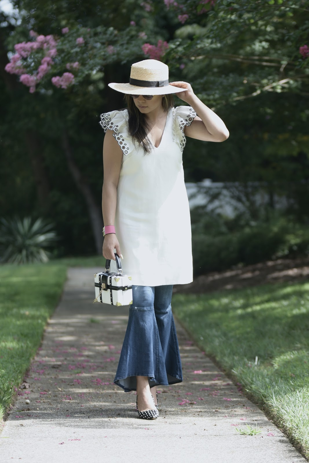 how to wear ruffled jeans, dress over jeans, street style outfit, fashion , j crew ruffle sleeve dress, free people jeans , ruffle hem, starw hat, myriad musings