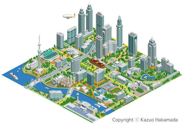 未来都市、スマートシティ、街並みイラスト