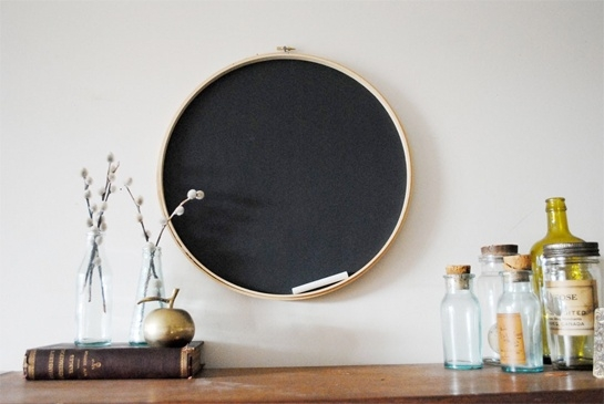 this embroidery hoop chalkboard is a creative DIY that adds a cute look to any space