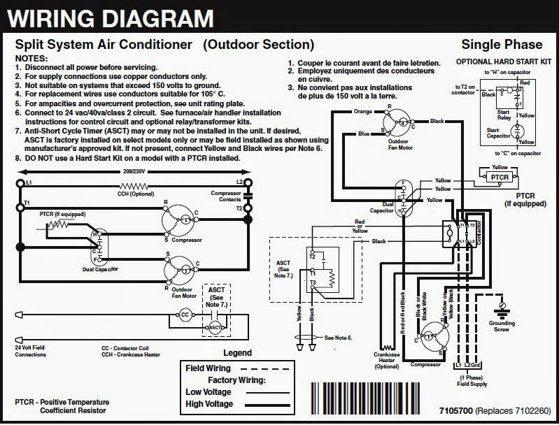 wiring diagram of split type aircon