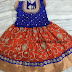Orange and Blue Net Weave Lehenga