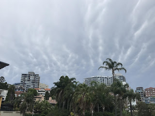 Mammatus clouds over the Elizabeth Bay skyline