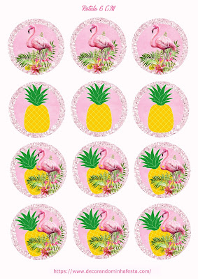 Topper Flamingo E Abacaxi Para Imprimir Grátis