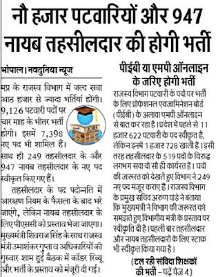 MP Patwari Recruitment 2018, 9,000 Bharti, Nayab Tehsildar