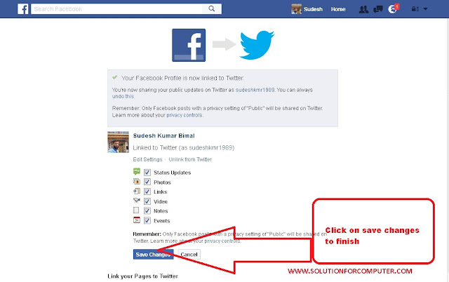 how to link twitter account to facebook account
