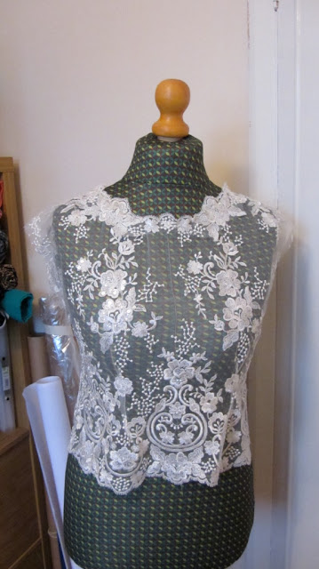 Applique lace seams handmade wedding dress