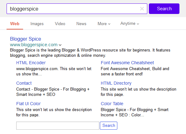 Blogger Spice on Yahoo saerch engine