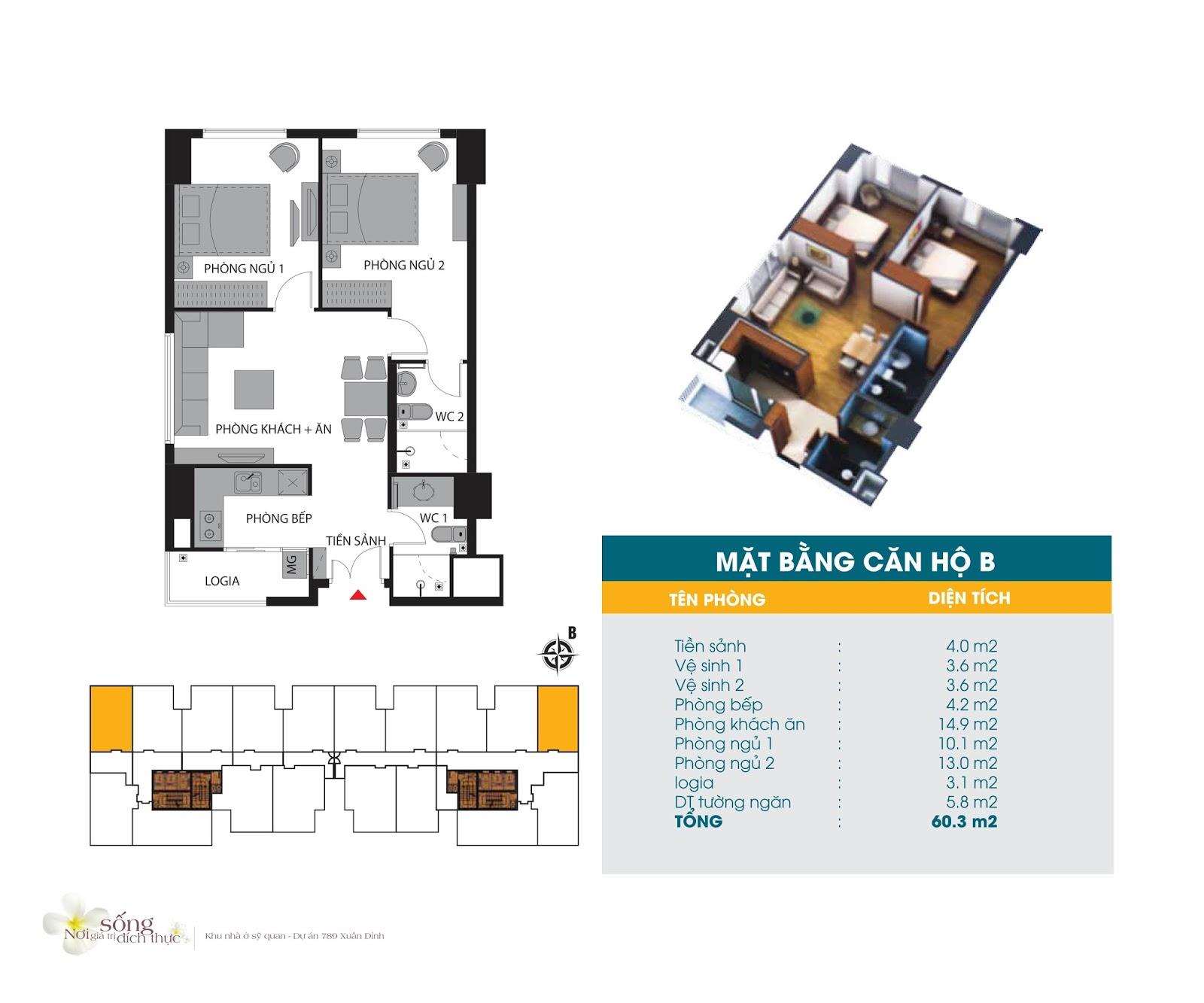 Thiết kế căn hộ 60.3m2 Chung cư 789 Xuân Đỉnh