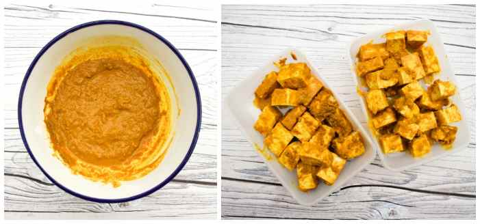 marinating tofu in tandoori homemade tandoori paste
