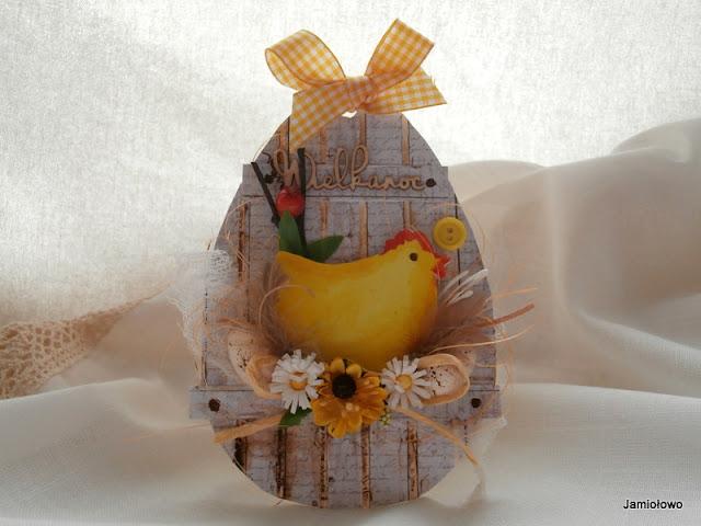 kartka na Wielkanoc z kurką