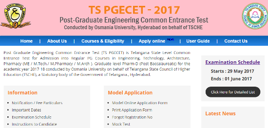 TS PGECET 2017 Notification Schedule Apply Online @pgecet.tsche.ac.in OR @osmania.ac.in | Telangana Post Graduate Engineering Common Entrance Test 2017 Notification issued by TSCHE and Osmania University for the Academic year 2017 | Telangana State Council for Higher Education released PGECET 2017 Notification to get admission into Master of Engineering ME Master of Technology M.Tech and Master of Achitecture M.Arc | Candidates who wish to Appear this exam they may submit their Application Form through Online Mode only at official websites http://pgecet.tsche.ac.in OR http://www.osmania.ac.in Important Dates like availability of Online Application form Download Hall Tickets Date of Examination Release of Results Mode of Fee Payment Complete Details you may get here ts-pgecet-2017-notification-schedule-online-application-pgecet.tsche.ac.in-form-osmania.ac.in-download-hall-tickets-results