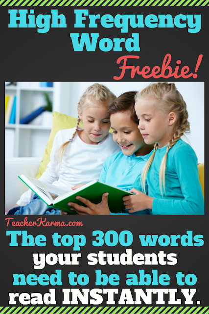 Sight Words / High Frequency Word FREEBIE TeacherKarma.com