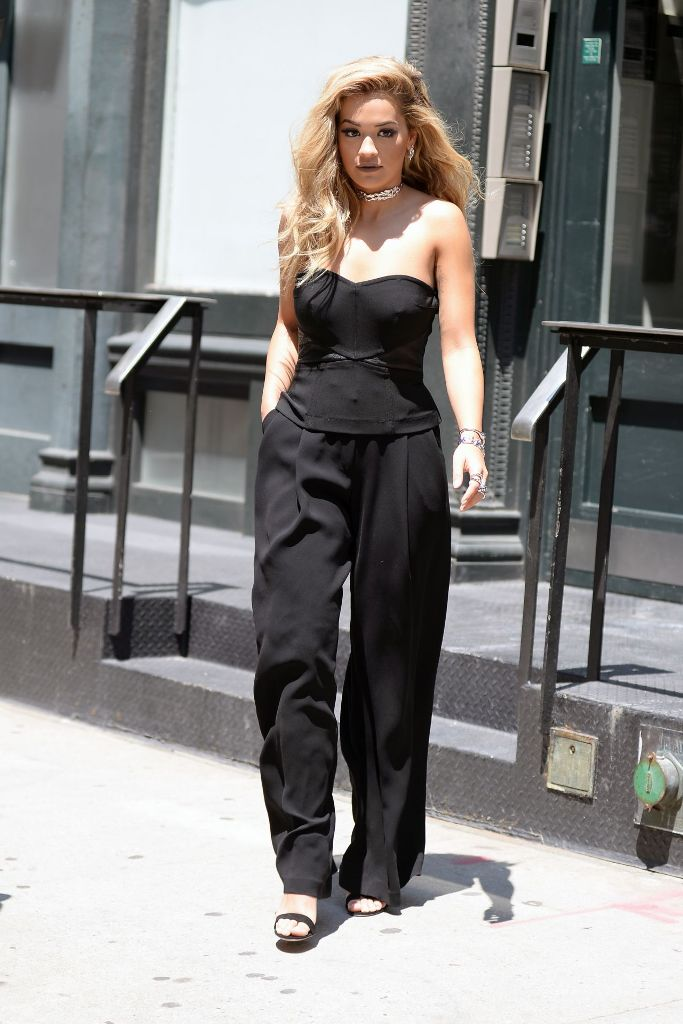 Rita Ora street style fashion leaving her apartement in New York City