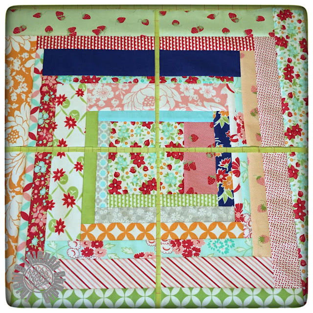 Block cut into quarters for the Bonnie and Camile Log Cabin Block Swap on Instagram. By Thistle Thicket Studio. www.thistlethicketstudio.com