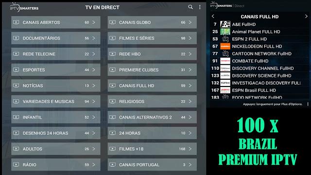 PREMIUM IPTV TO WATCH BRASIL PREMIUM CHANNELS + 100 CODES - IPTV DROID