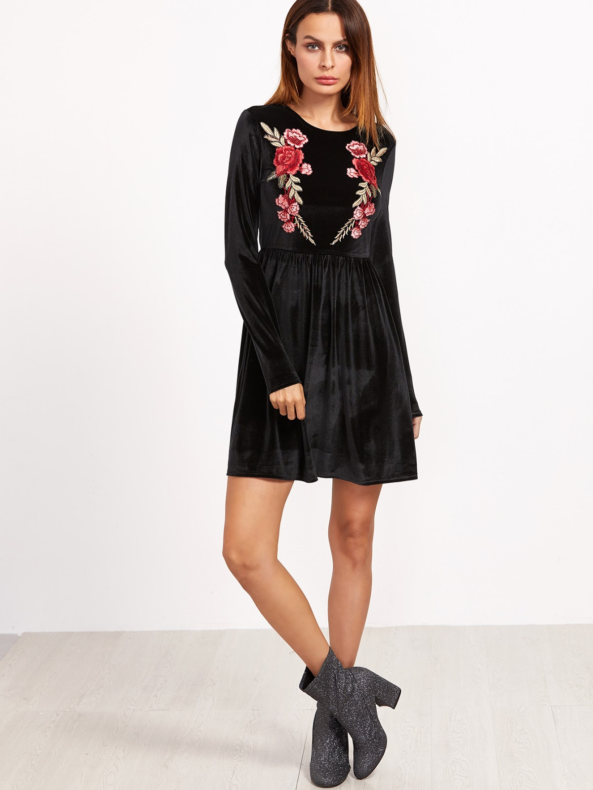 Black Rose Embroidered A Line Velvet Dress